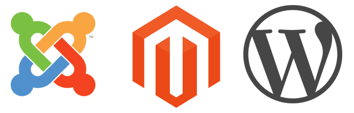Joomla, Magento, and WordPress logos