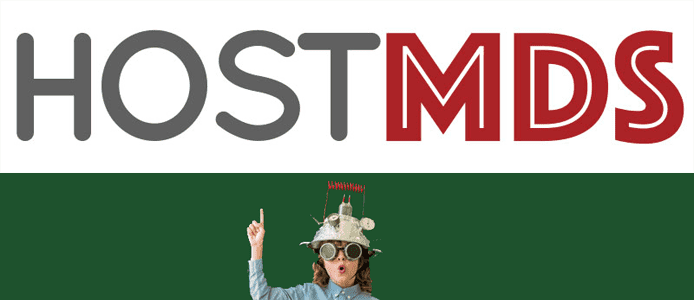 The HostMDS logo and a boy in a sci-fi costume