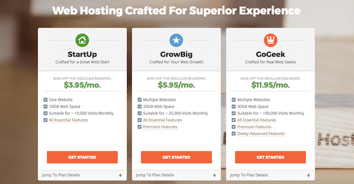 Screenshot of SiteGround pricing tiers