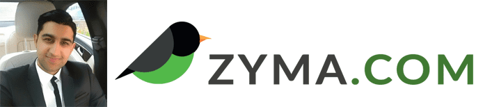 Khuram Shazad's headshot and the Zyma logo