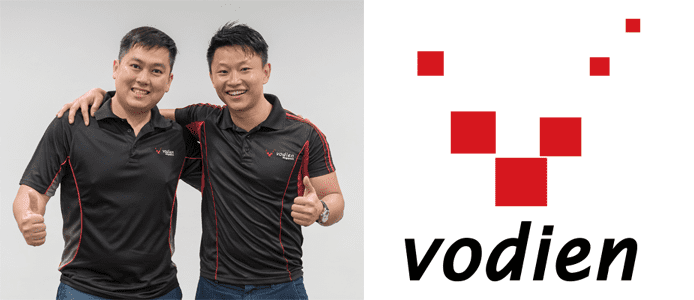 Photo of John Jervis Lee and Alvin Poh and the Vodien logo