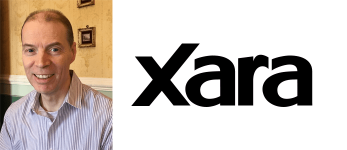 Charles Moir's headshot and the Xara logo
