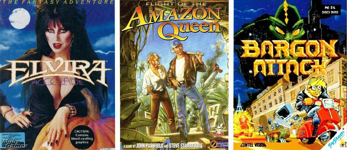Photo of product boxes of Elvira, Amazon Queen, and Bargon Attack games