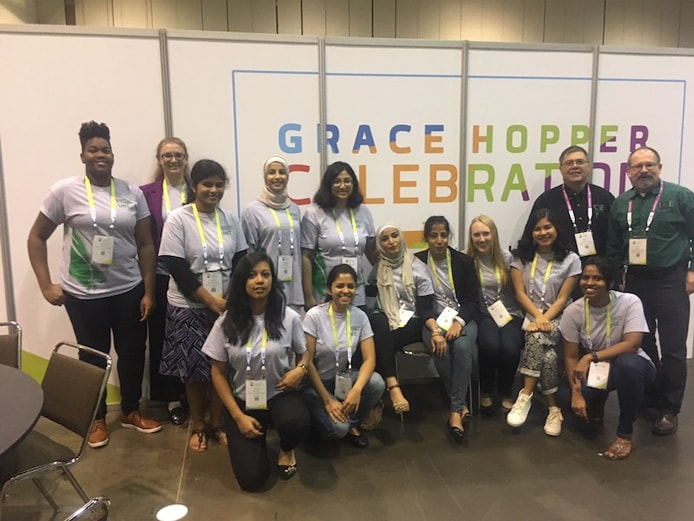 Photo of students at the Grace Hopper Celebration of Women in Computing
