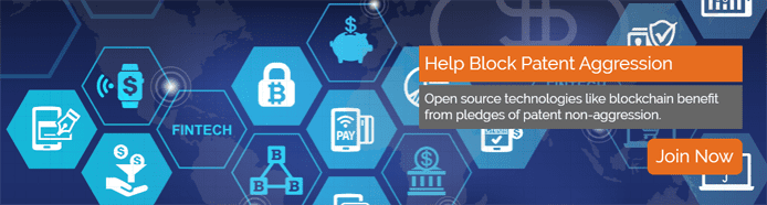 """Graphic representing the FinTech industry and text reading """"Help Block Patent Aggression"""""""