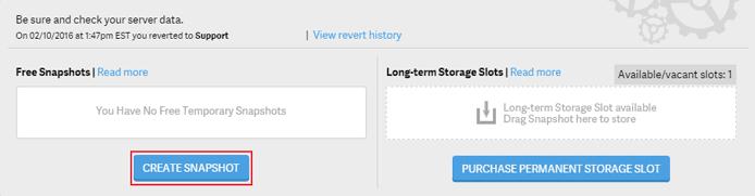 Screenshot of the snapshots tool interface