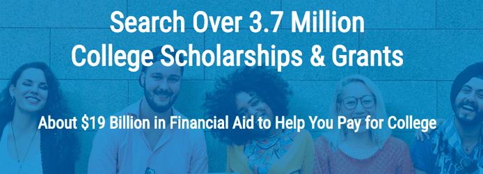 Screenshot picturing students with text noting the 3.7 million scholarships available on Scholarships.com