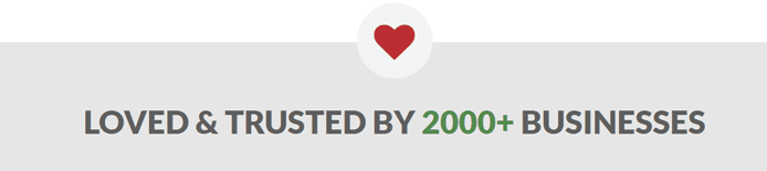 "Heart graphic and text reading ""Loved & Trusted By 2000+ Businesses"""