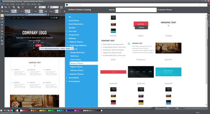 Screenshot of Xara's web design interface