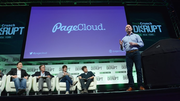 Image of PageCloud CEO and Founder Craig Fitzpatrick presenting at TechCrunch Disrupt
