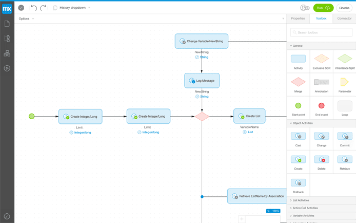 Screenshot of Mendex's web modeler
