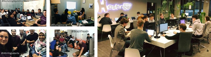 Images of 000webhost and Hostinger support teams