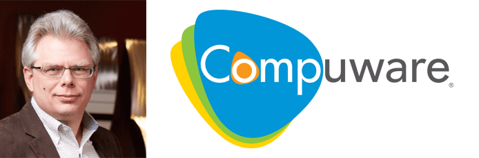 Sam Knutson's headshot and the Compuware logo
