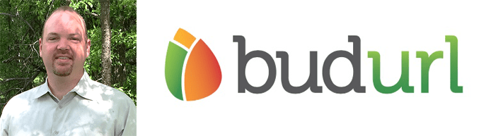 Andy Meadows's headshot and the BudURL logo