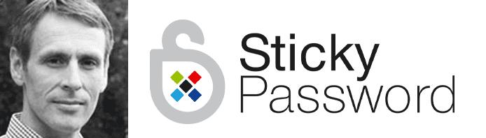 Peter Lipa's headshot and the Sticky Password logo