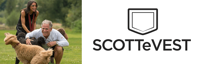 Photo of Scott and Laura Jordan and the SCOTTeVEST logo