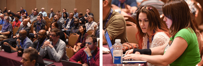 Collage of photos from Interop ITX educational sessions