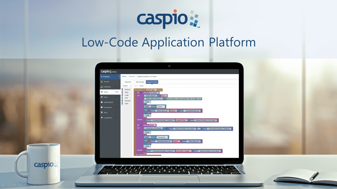 Screenshot of Caspio's platform running on a laptop