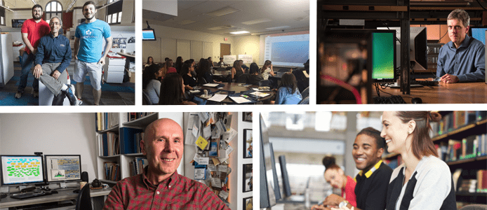 Collage of faculty and students at U Pitt's School of Computing and Information