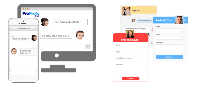 Screenshots of ProProfs's live chat software