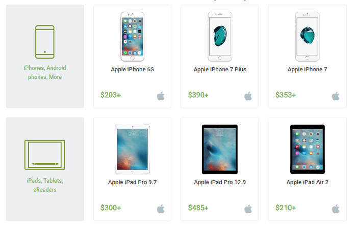 Screenshot of mobile devices in the Swappa marketplace