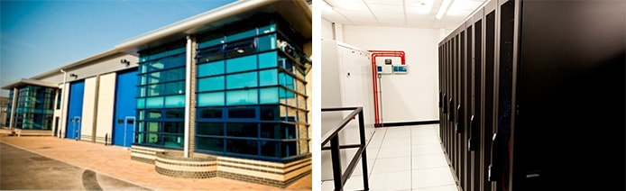 Images of exterior and interior of datacenters