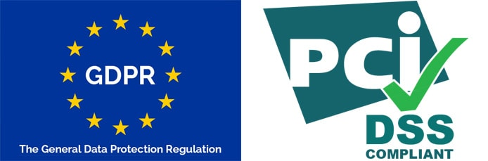 Logos of GDPR and PCI standards