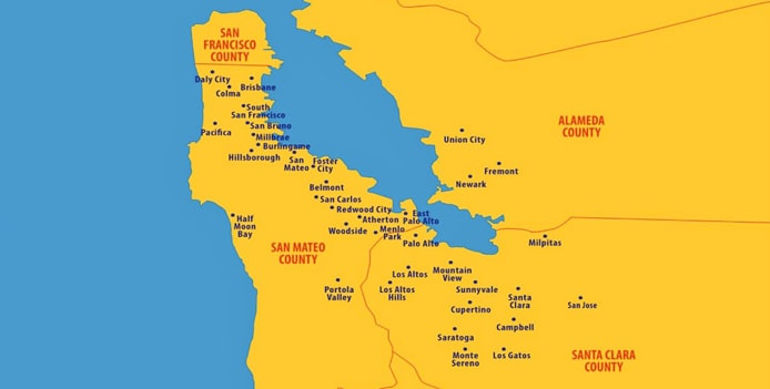 Map of San Francisco Bay Area and Silicon Valley
