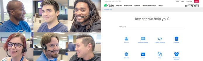 Images of iPage support personnel with a screenshot of the iPage knowledgebase