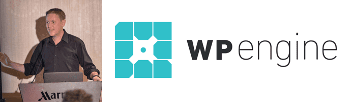 David Vogelpohl's headshot and the WP Engine logo