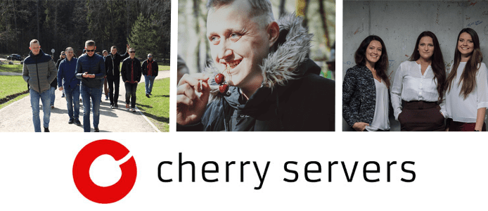 Photo collage of the Cherry Servers team and the Cherry Servers logo