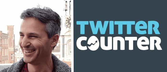 Omer Ginor's headshot and the Twitter Counter logo