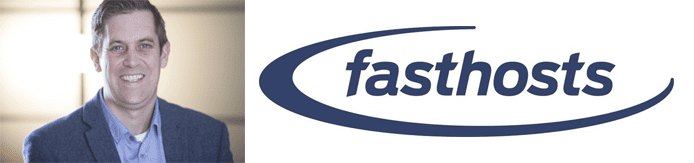 Simon Yeoman's headshot and the Fasthosts logo
