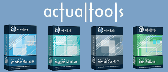 Collage of Actual Tools product boxes