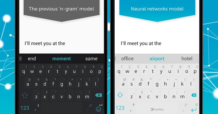 Graphic depicting SwiftKey's learning capabilities on a mobile phone