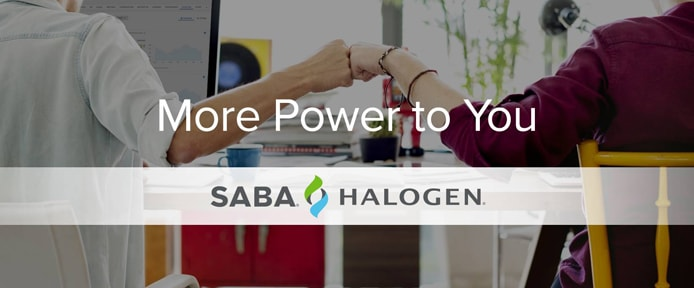 Promotional graphic containing the Saba Software and Halogen logos