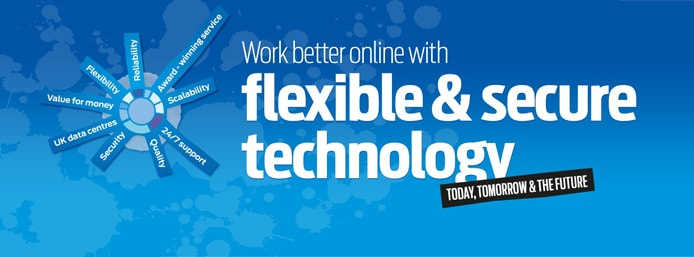 "Graphic with text saying ""Work better online with flexible and secure technology"""