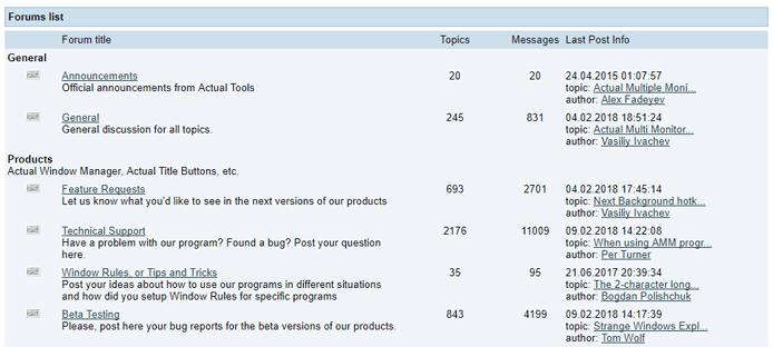 Screenshot of the Actual Tools forum
