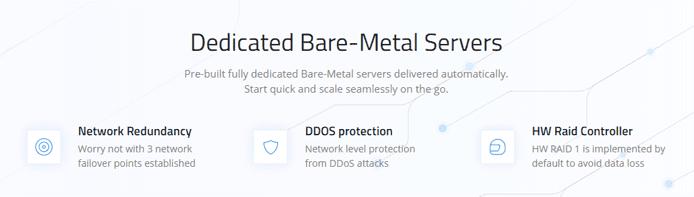 Screenshot depicting benefits of Cherry Servers's dedicated server solutions