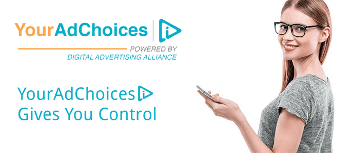 Photo of a woman with a phone and the YourAdChoices logo