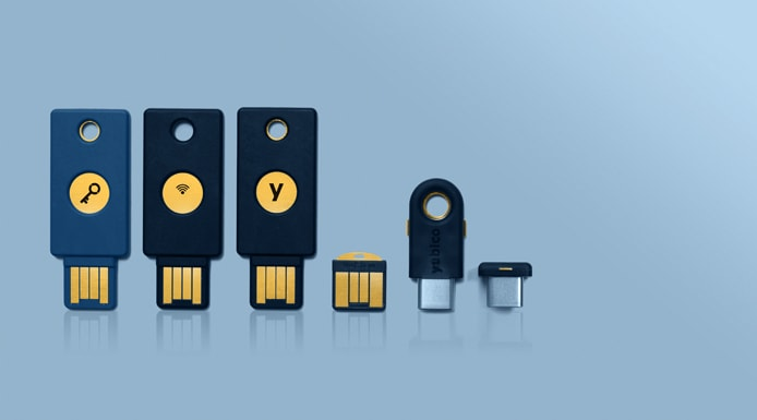 Collage showing YubiKey family of products