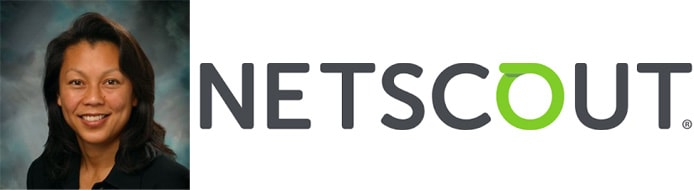 Image of NETSCOUT Director of Product Marketing Ann Sun with company logo