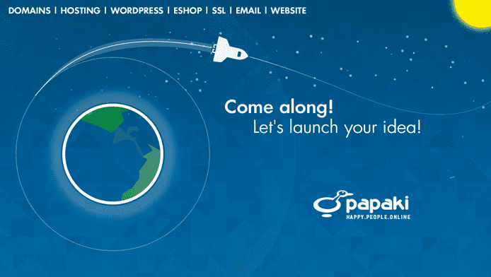 Promotional graphic listing Papaki's web services and showing a space shuttle Earth