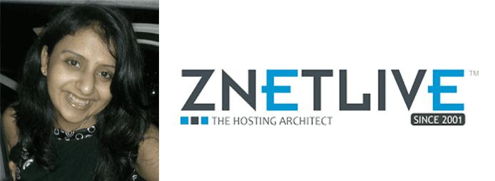 Barkha Singh's headshot and the ZNetLive logo