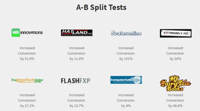 Screenshot of stats depicting Trust Guard customer success with A/B testing