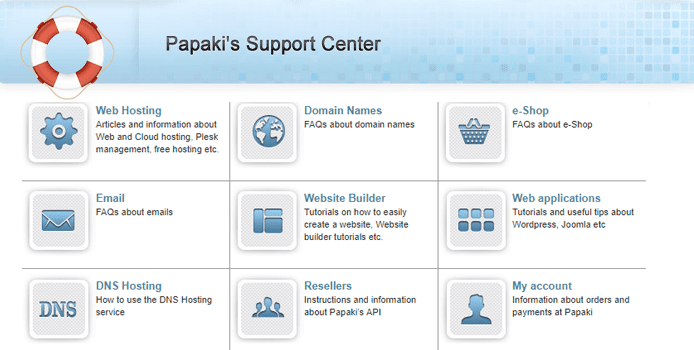 Screenshot of Papaki's Customer Support center webpage