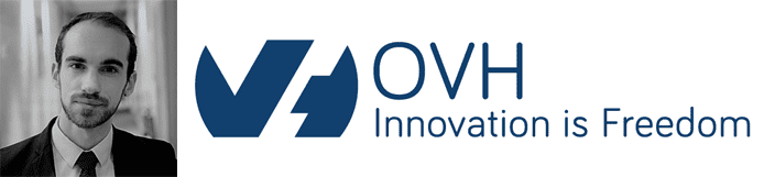 Florent Gastaud's headshot and the OVH logo