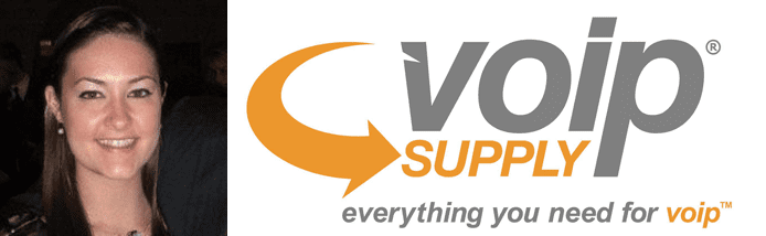 Mary Cheney's headshot and the VoIP Supply logo