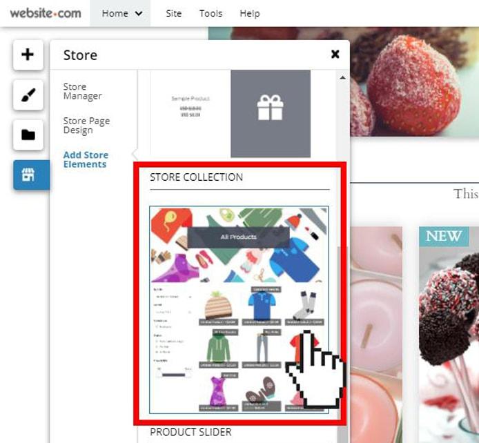 Screenshot of Website.com's Store Elements feature