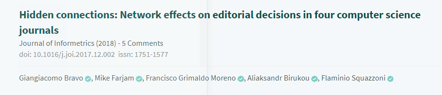 Screenshot of an article topic on PubPeer